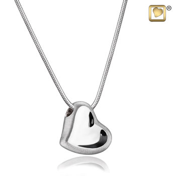 Leaning Heart Silver Two Tone